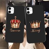 Funda de teléfono de lujo con corona dorada para iPhone, protector suave y brillante para iPhone XS MAX XR X 6 6S 11 12 Pro Max 8 7 Plus SE2020