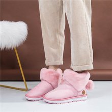 Liren 2019 Winter Fashion Warm Women Fur Boots Ankle  Round Toe Low Flat with Flock Furry