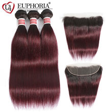 1B 99J Straight Human Hair Bundles With Frontal 13x4 Lace Closure With Hair Weave Ombre Red Brazilian 100% Remy Hair EUPHORIA(China)