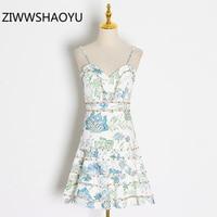 ZIWWSHAOYU Summer Female V Neck Backless Cami Strap Dress Designer Women Embroidery Print Mesh Stitching Vintage Mini Dresses