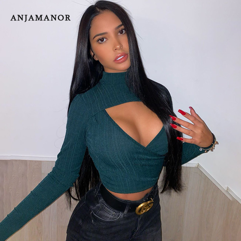 ANJAMANOR Sexy Hollow Out Deep V Long Sleeve Crop Top Fashion Tshirt 2020 Spring Club Shirts for Women Going Out Clothes D70-G92
