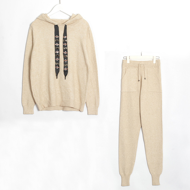 Wixra Women Sweater Suits and Set Casual Hooded Sweaters Knit Long Pants 2PCS Clothing Sets Track Suits Trousers+Jumpers 5