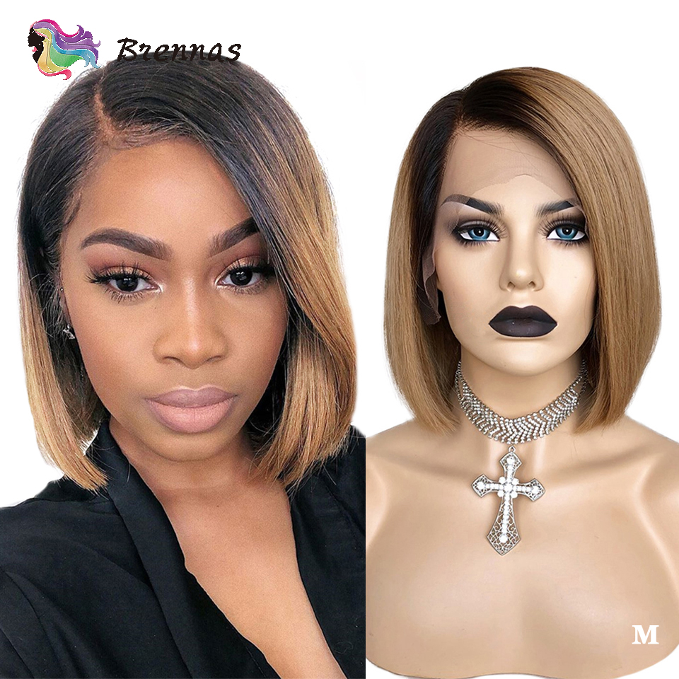 Straight Lace Wig Short Bob Straight Lace Front Wig 1b/27 Ombre Side Part Lace Wig Brazilian Remy Hair Bleached Knots For Women