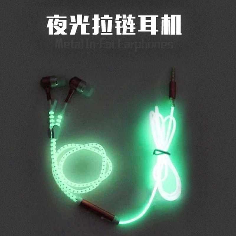 Blask w ciemności metalowe słuchawki słuchawki douszne z mikrofonem świecące na zamek błyskawiczny zielony niebieski kolor zestaw słuchawkowy Luminous oświetlenie Stereo