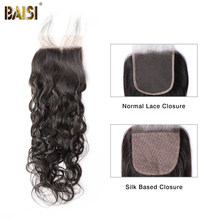 BAISI Braziliaanse Virgin Hair Lace Sluiting 4x4 Water Wave 100% Virgin Human Hair Gebleekte Knopen met Baby Haar(China)