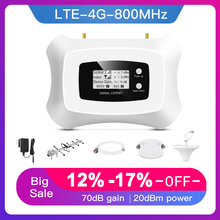Hot! 4G Lte 800Mhz Mobiele Signaal Booster 4G Mobiele Telefoon Versterker 4G Cellulaire Signaal Repeater Met Yagi + Plafond Antenne Kit