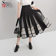جديد 2020 المرأة الأسود مطاطا تنورة عالية الخصر شبكة المرقعة ألف خط السيدات الكورية تنورة أنيقة موضة عادية الشارع نمط 5409