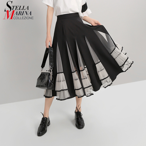 Image 1 - חדש 2020 נשים שחור אלסטיות גבוהה מותניים חצאית רשת טלאים אונליין גבירותיי קוריאני אופנה אלגנטית חצאית מקרית רחוב סגנון 5409