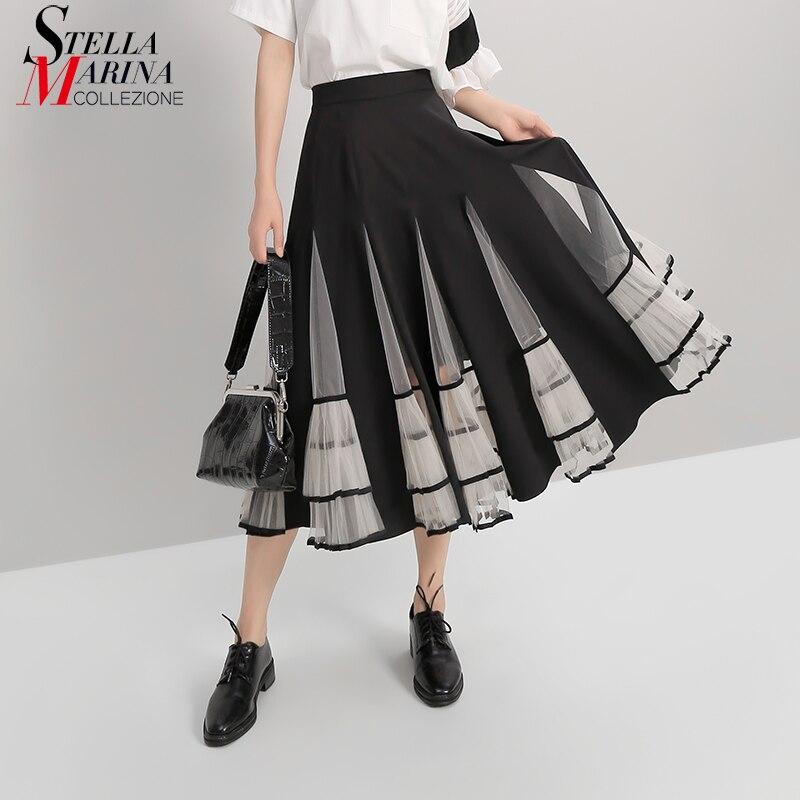 New A-Line Women Black Elastic High Waist Skirt Mesh Patchwork 2019 Ladies Korean Fashion Elegant Skirt Casual Street Style 5409