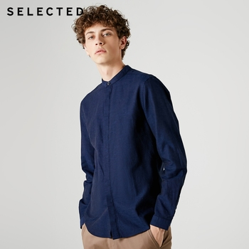 SELECTED Cotton Lined Collar Business Casual Long Sleeve Shirt