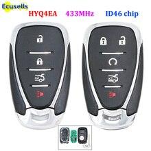 חכם 4/5 כפתור מרחוק מפתח Fob 433MHz עם ID46 שבב עבור שברולט קמארו Equinox Cruze מליבו ניצוץ HYQ4EA עם חירום מפתח