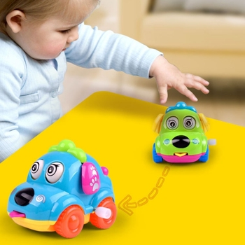 Funny Kids Baby Toys Cartoon Animal Dog Wind Up Toys Running Car Clockwork Educational Toys Infant Baby Mobile Rattle Toy Gift недорого