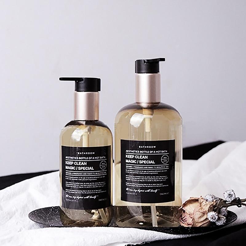 250/500ml Nordic Style Shower Gel Shampoo Bottles Bath Refillable Bottles Body Wash Hair Conditioner Dispenser Bathroom Supplies