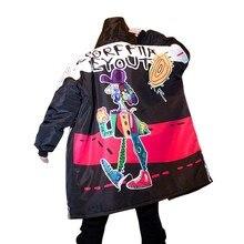 Funny Men Winter Parkas Jacket Hip Hop Graffiti Printing Oversized Long Loose Ca