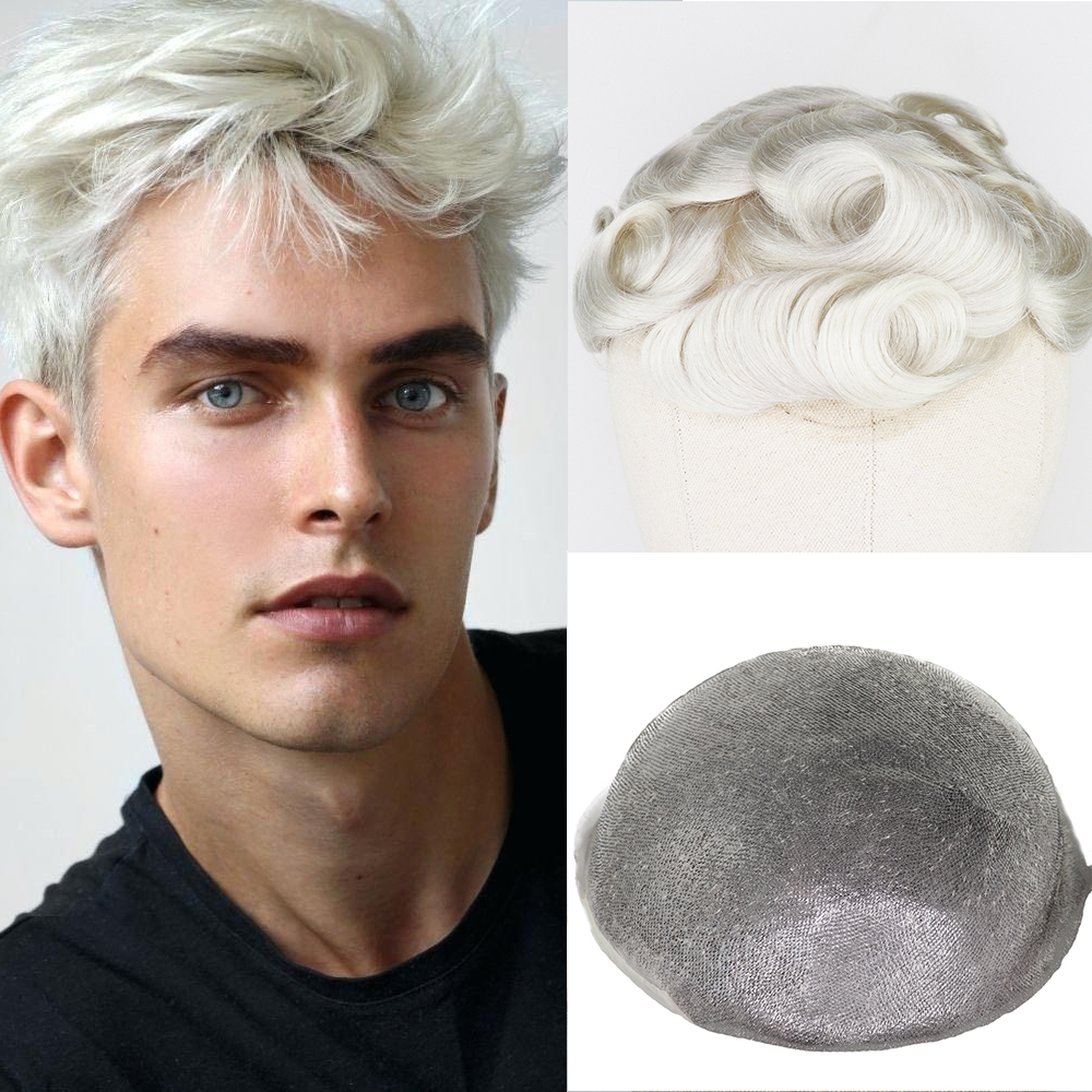 YY Wigs #60 Blonde Human Hair Toupee For Men Brazilian Remy Hair Replacement System 8x10 Full PU Hand Tied Mens Toupee Hairpiece