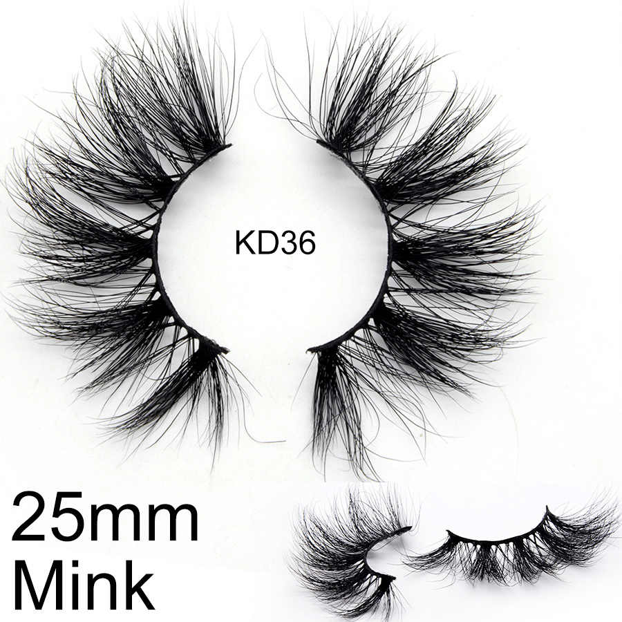 25mm 3D Real Nerz Wimpern KD-Serie Großhandel Groß Lange Denken Luxus Flauschigen Wimpern Hand Made