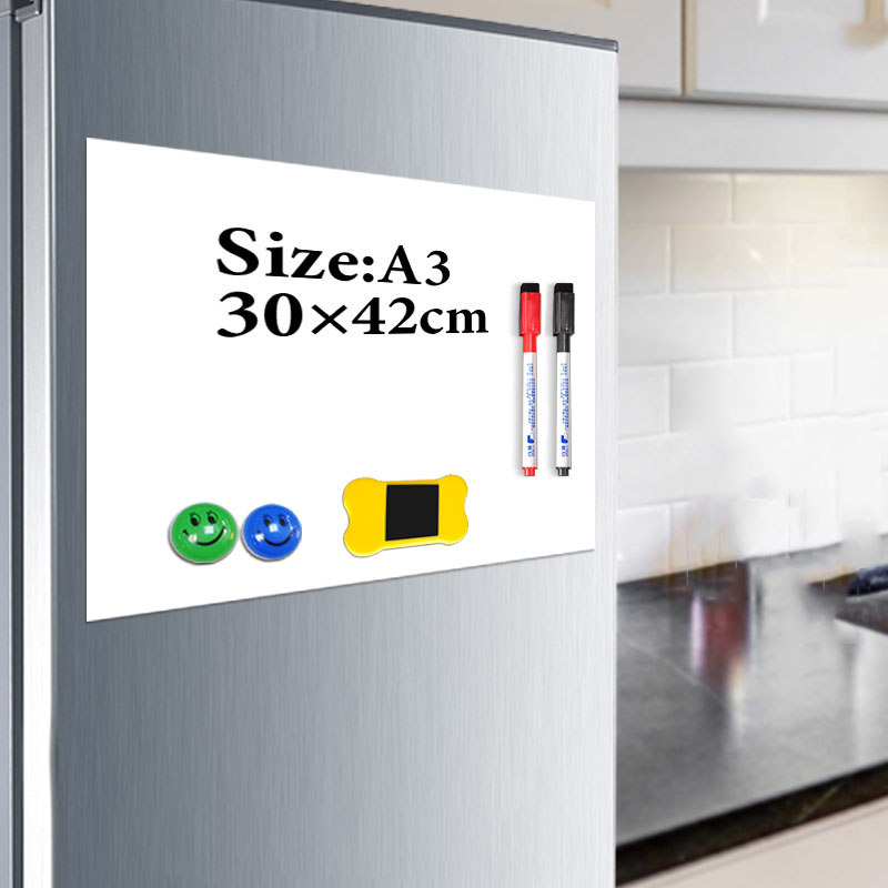 Magnet Whiteboard A3 Soft Magnetic Board, Dry Erase Drawing And Recording Board For Fridge Refrigerator With Free Gift