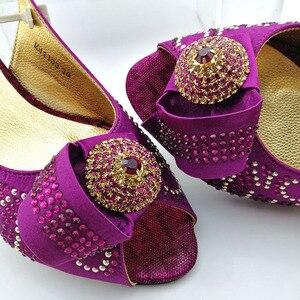 Image 5 - Cor verde sapatos africanos e saco conjunto de correspondência com pedras sapatos femininos design italiano sapatos e bolsa conjunto para festa de casamento