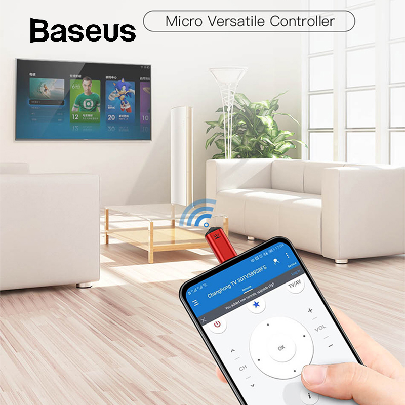 Baseus R03 Micro Jack Smart IR Remote Control Universal Remote Control for TV/Air Conditioner/Projectors for Xiaomi Huawei Phone