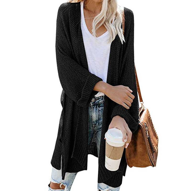 2xl Roll Sleeve Knitted Long Cardigan Women For Autumn 2019 Black Ladies Fall Cardigans Women Jumpers Sweater Women For Winter 3