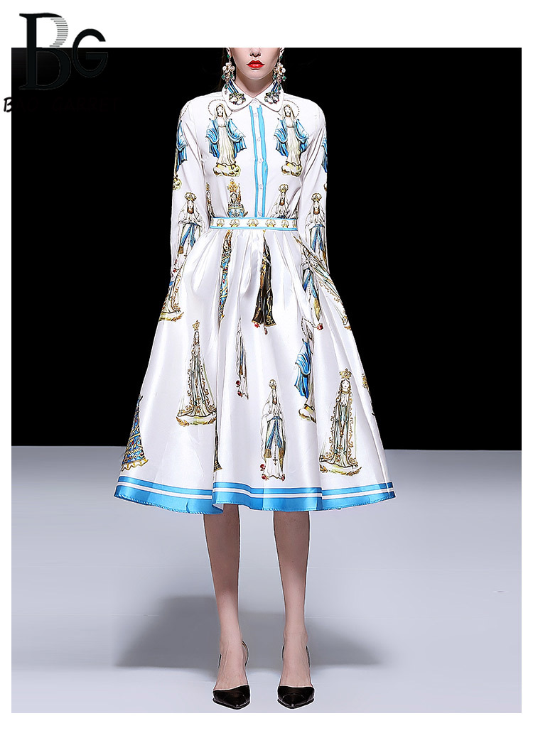 Baogarret Runway Madonna Printed Skirt Suit Womens Beading Long Sleeve Blouse + Skirts luxury Party Two Piece Set Female