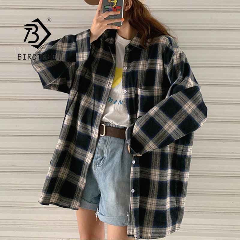 New Arrival Women Vintage Oversized Harajuku Plaid Shirt Batwing Sleeve Button Up Retro Long Blouse Brushed Feminina Blusa T0540