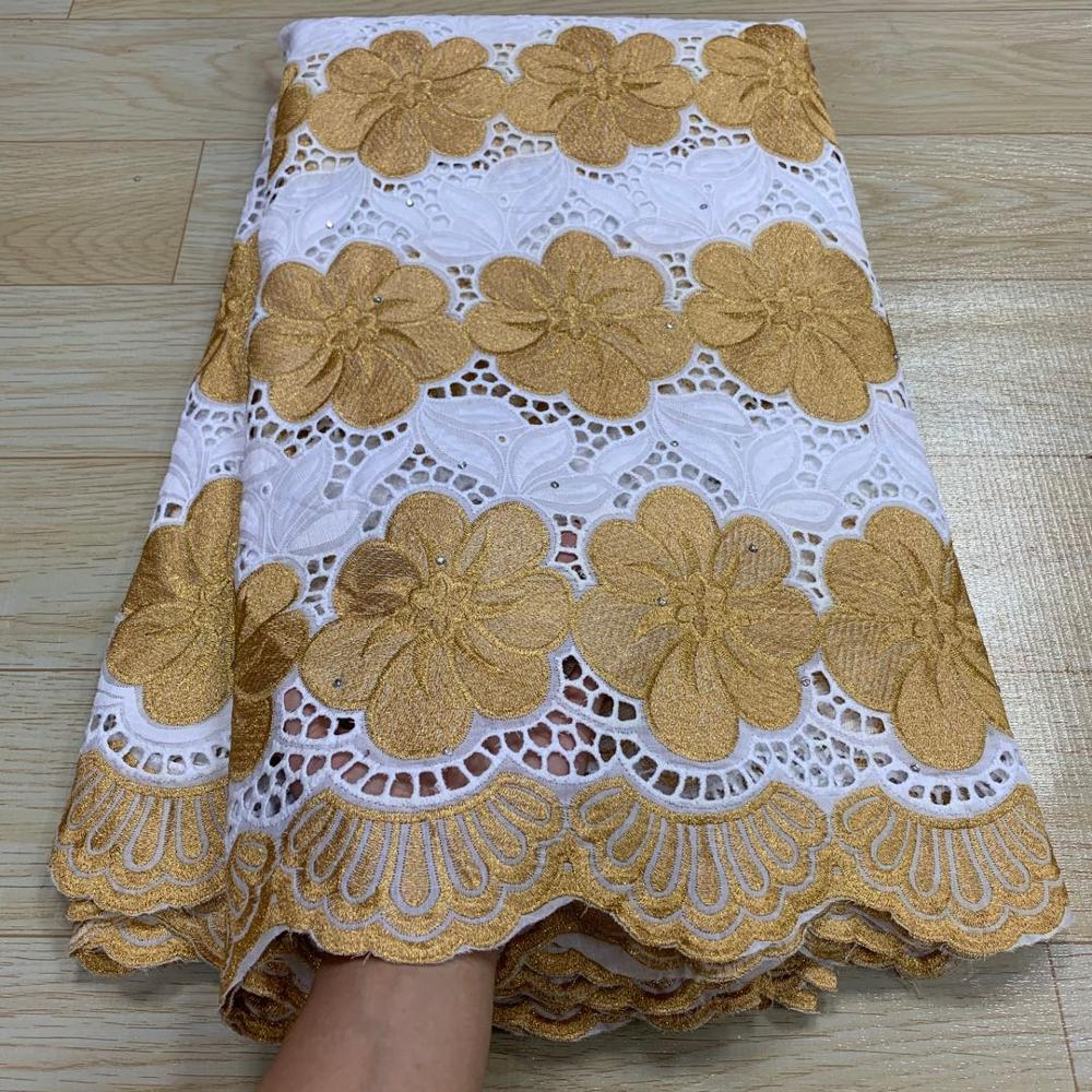 MIQIER High Quality African nigerian tulle Lace Fabric 100% cotton fabric Party Dress Embroidered Swiss cotton fabric 2.5yards