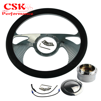 """14"""" 9-Bolt Boomerang Style Half Wrap Steering Wheel +Adapter w/Horn For CHEVY G M"""