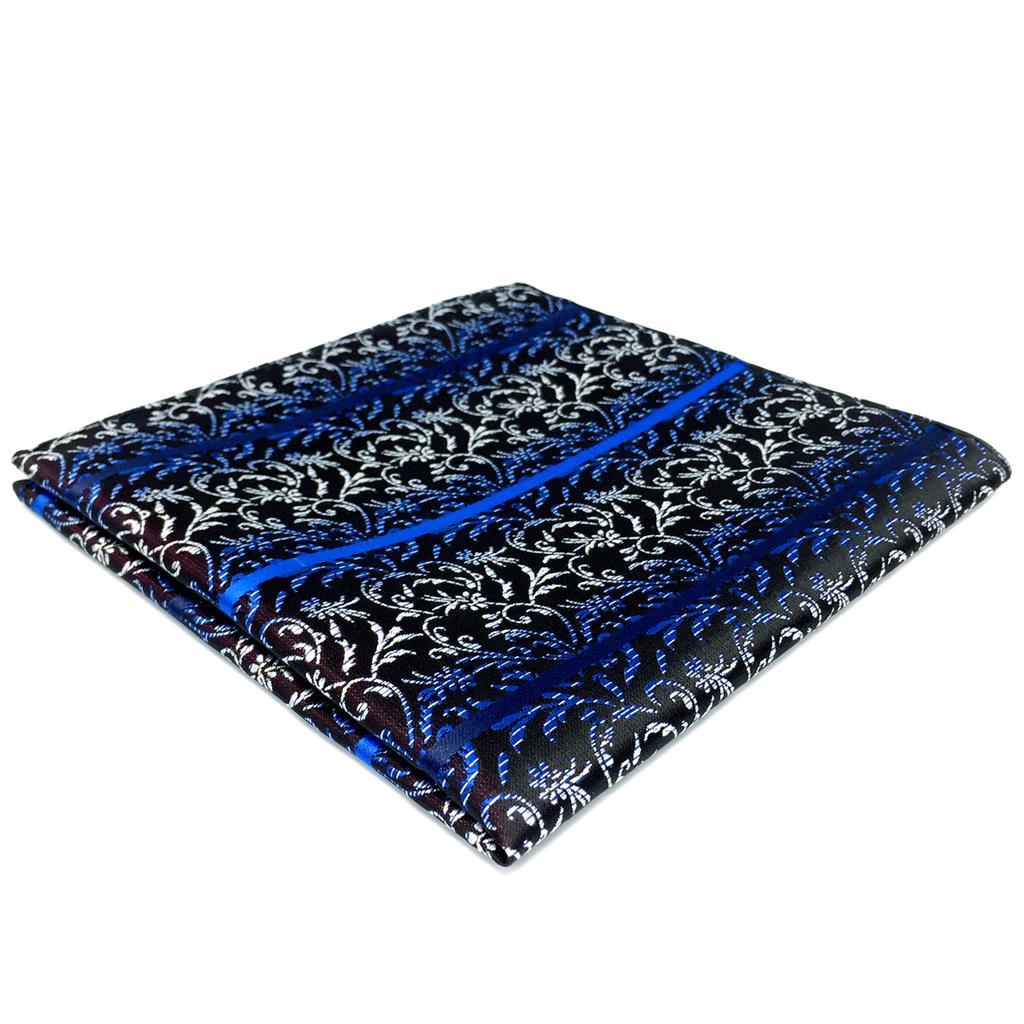 FH29 Blue Geometric Pocket Square Classic Handkerchief Business Silk Large 12.6
