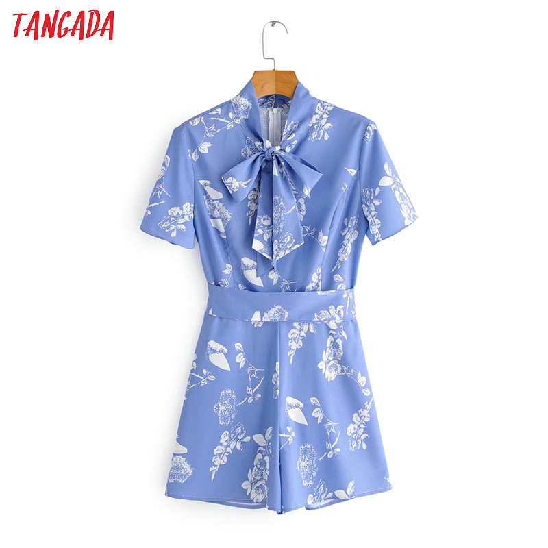 Tangada Fashion Women Floral Print Blue Summer Playsuit Short Sleeve Bow Neck Female Elegant Office Playsuit 1F150