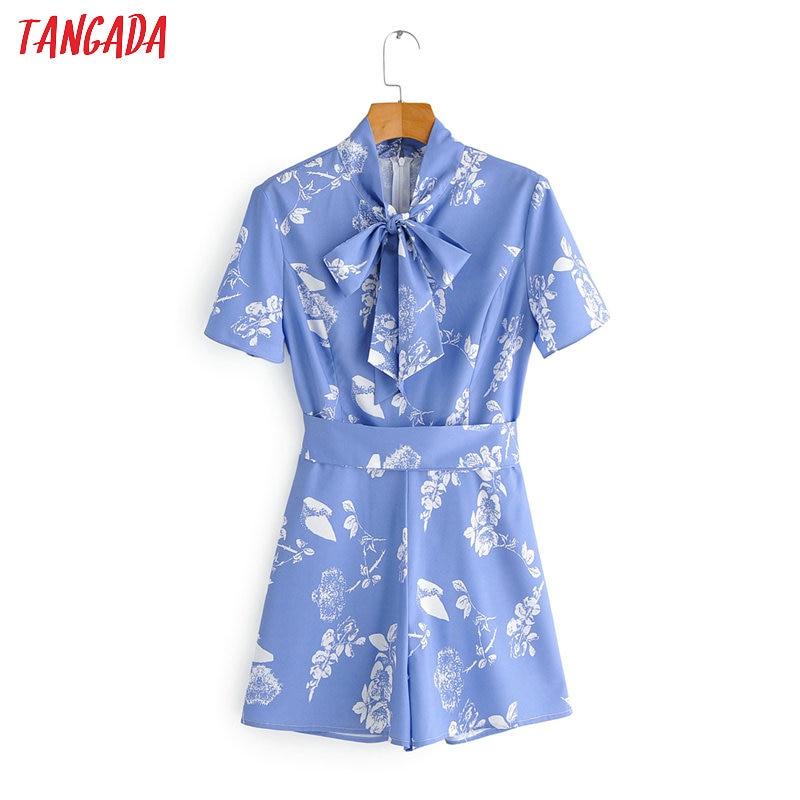 Tangada Fashion Women Floral Print Blue Summer Playsuit Short Sleeve Bow Neck Female Elegant Office Playsuit 1F150