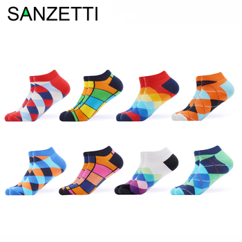 SANZETTI 8 Pairs/Lot Men's Colorful Summer Socks Casual Novelty Combed Cotton Happy Hip Hop Plaid Striped Dress Boat Ankle Socks