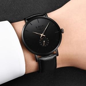 Image 5 - LIGE часы мужские модные повседневные подарочные деловые часы мужские водонепроницаемые кварцевые наручные часы черные кожаные часы Relogio Masculino