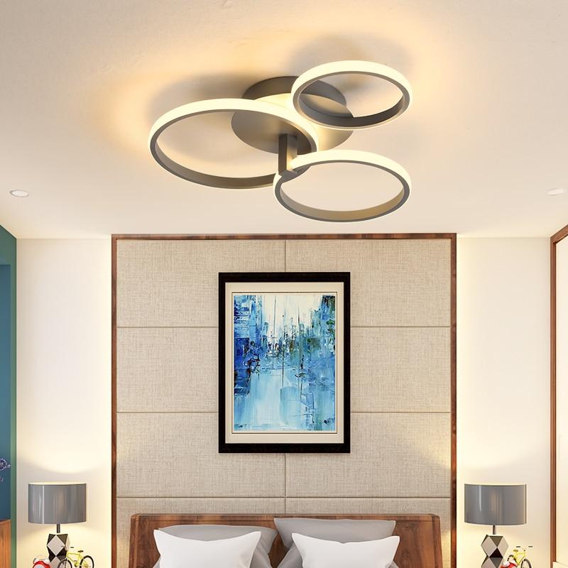 Gray/White/Brown/Black led chandelier for Bedroom study room lights Creative modern chandelier lampara techo chandelier lighting