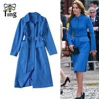 Tingfly Designer Kate Princess Royal Blue Elegant Dress Lady Vintage Office Work Knee Dress with Belt Fashion Casual Vestidos