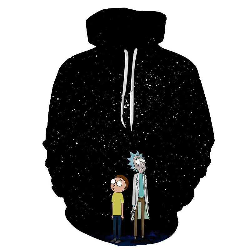 2019 Hoodies Anime Rick And Morty 3D Print Hoodies With Hat Men Hoodie Loose Hooded Sweatshirt Sudaderas Para Hombre Streetwear