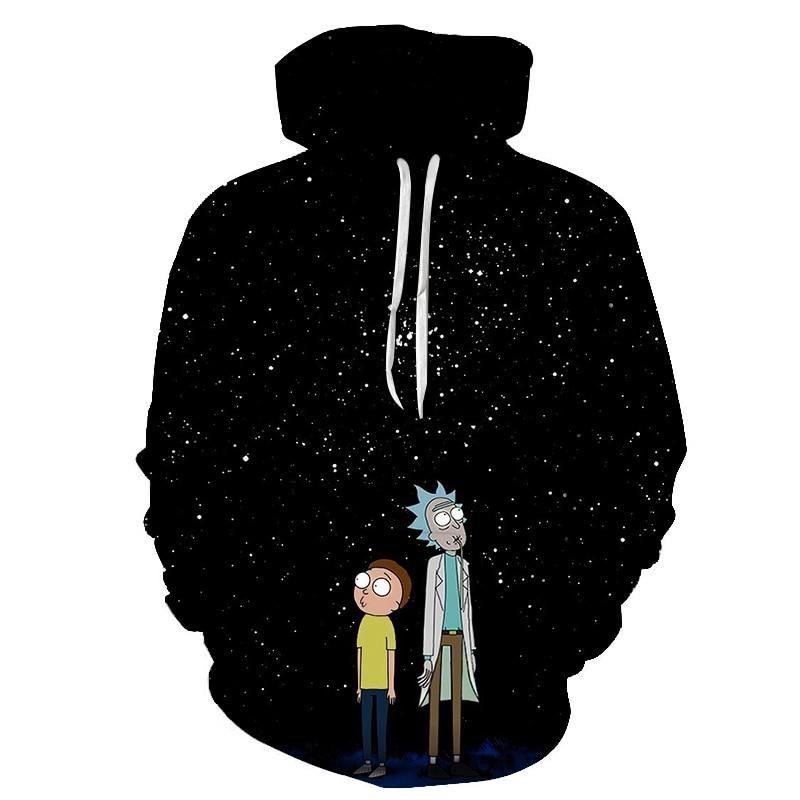 2019 Hoodies Anime Rick And Morty 3D Print Hoodies With Hat Men Hoodie Loose Hooded Sweatshirt Sudaderas Para Hombre Streetwear