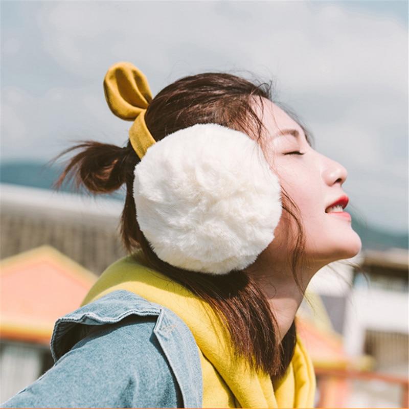 2020 Hot New Adjustable Foldable Earflap Furry Soft Women Warm Earmuffs Winter Ear-warmers Cute Earmuffs Bow Folding Winter Earm