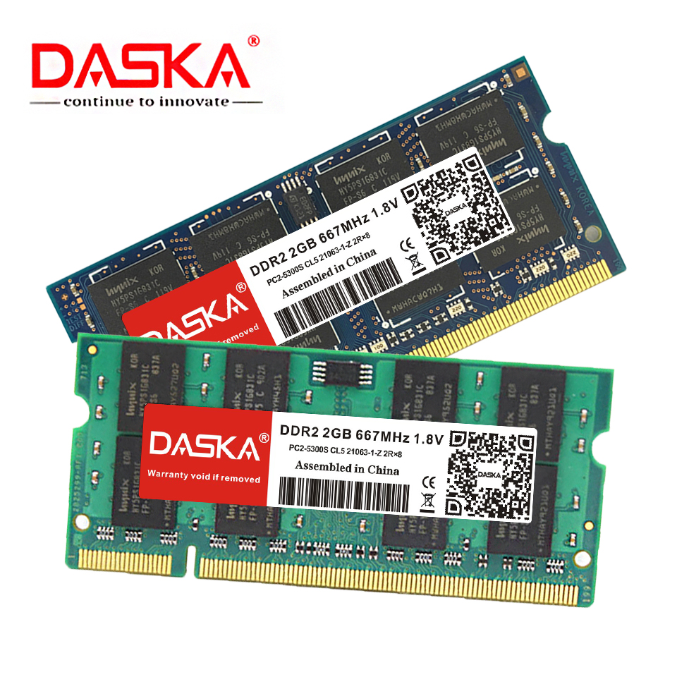 DASKA ddr2 2GB 4GB ram sodimm Laptop Memory PC2-5300/6400 800 667mhz 200pin 1.8V ddr 2 for Notebook Lifetime Warranty 3