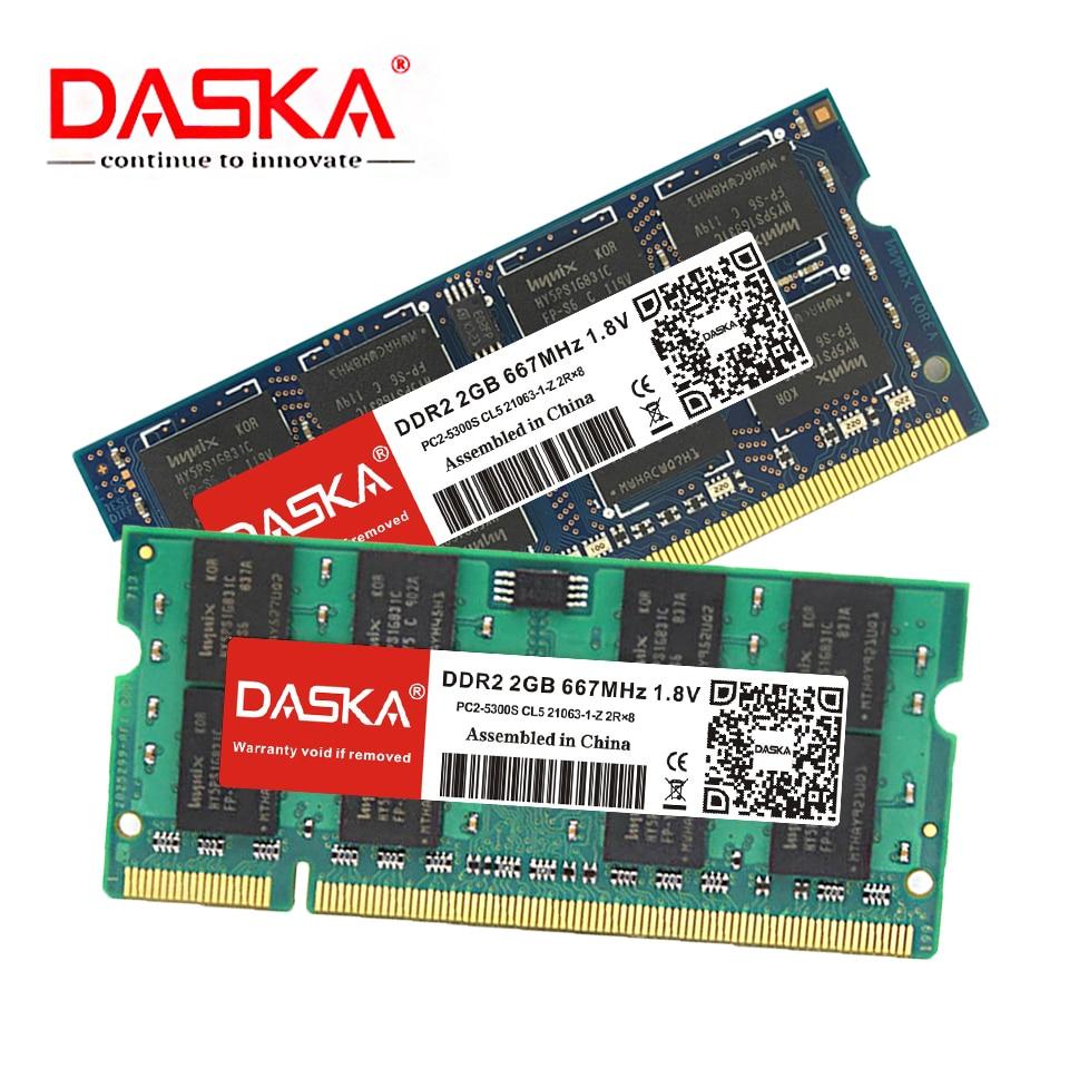 DASKA DDR2 2GB Laptop RAM Memory with 667MHz/800MHz Memory Speed 2