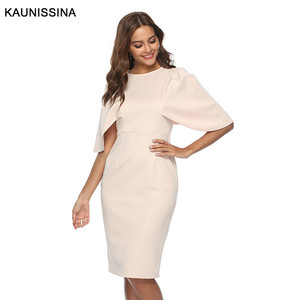 Image 4 - KAUNISSINA Elegant Cocktail Dress Bodycon Solid Knee Length Formal Party Gowns Back Split Robe Homecoming Dresses