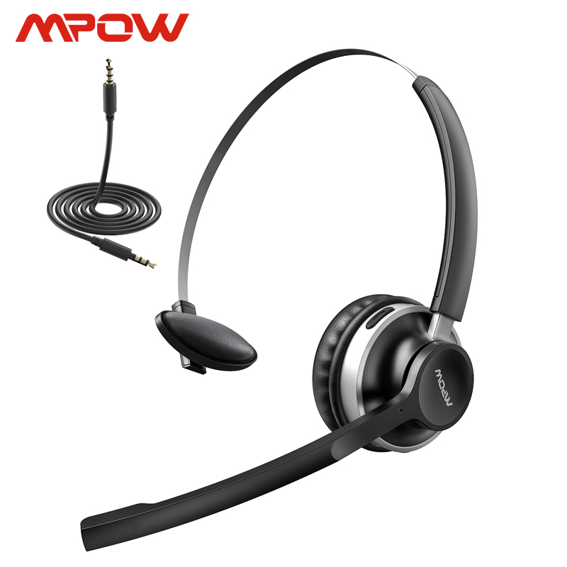 Mpow HC3 Bluetooth 5,0 Kopfhörer Dual <font><b>Noise</b></font> <font><b>Cancelling</b></font> Mikrofon Klare <font><b>Wireless</b></font> & Wired Headset Für PC Laptop Call-Center Handys image