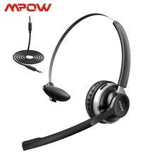 Mpow hc3 fone de ouvido sem fio para pc, headphone, bluetooth 5.0, cancelamento de ruído duplo, sem fio e com fio, para centro de chamadas, laptop