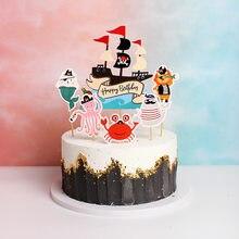 Pirata tema feliz aniversário papel bolo topper navio pirata crânio bolo de aniversário topper miúdo festa de aniversário bolo decoração suprimentos