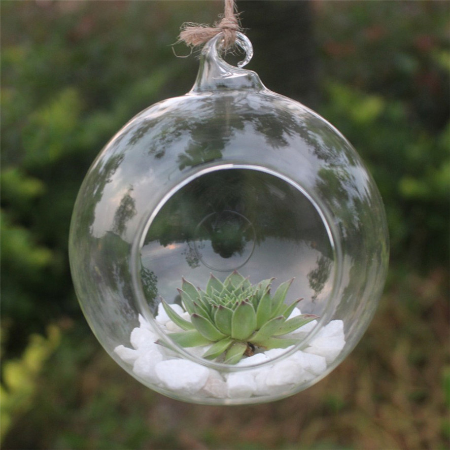Transparent Glass Flower Hanging Vase 1PC Hanging Glass Planter Plant Terrarium Container Home Wedding Decor 1206#30