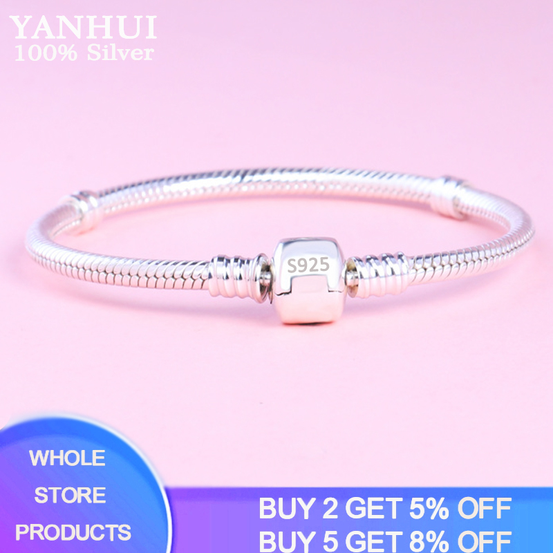 Big 98% OFF! Free Sent Certificate Authentic 100% 925 Sterling Silver Basic Snake Chain Bracelet & Bangles Fine Jewelry
