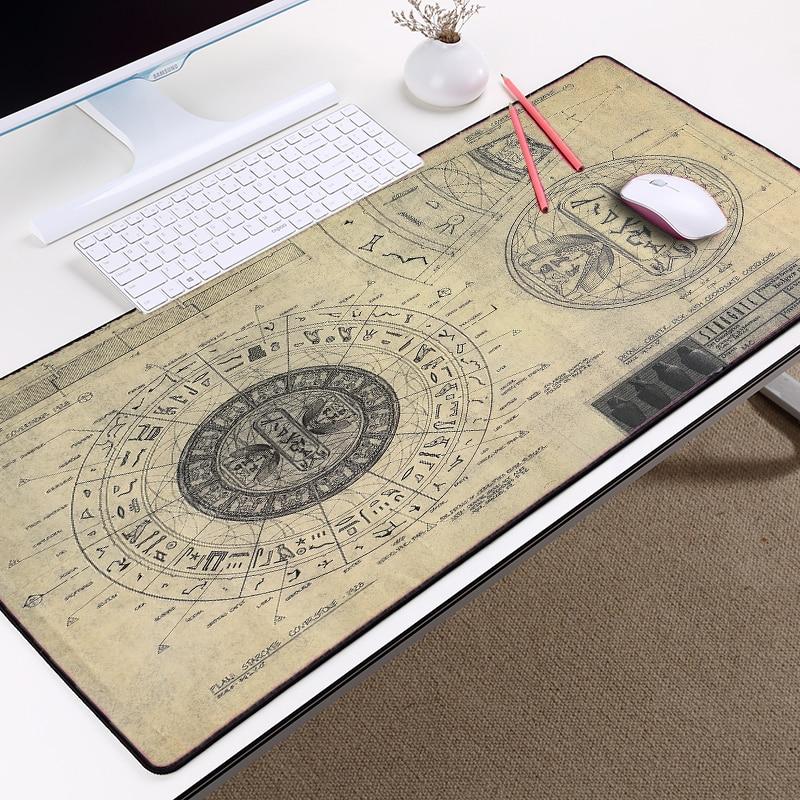 Mairuige STARGATE SG-1 Design Drawings Style Pattern Mousepad Mice Mat Pad Overlock Edge Large Size For Decorative Desktop