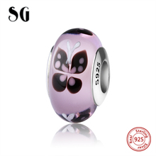 SG silver 925 lovely butterfly Murano glass beads diy pink color charms fit original pandora bracelet and necklace jewelry gift