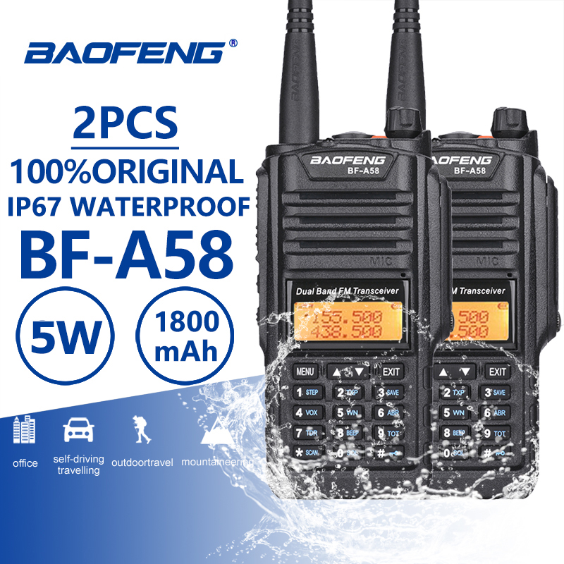 2pcs Baofeng BF-A58 IP67 Waterproof Walkie Talkie UHF VHF A58 Two Way Radio Comunicador CB Radio Walky Talky Professional Telsiz