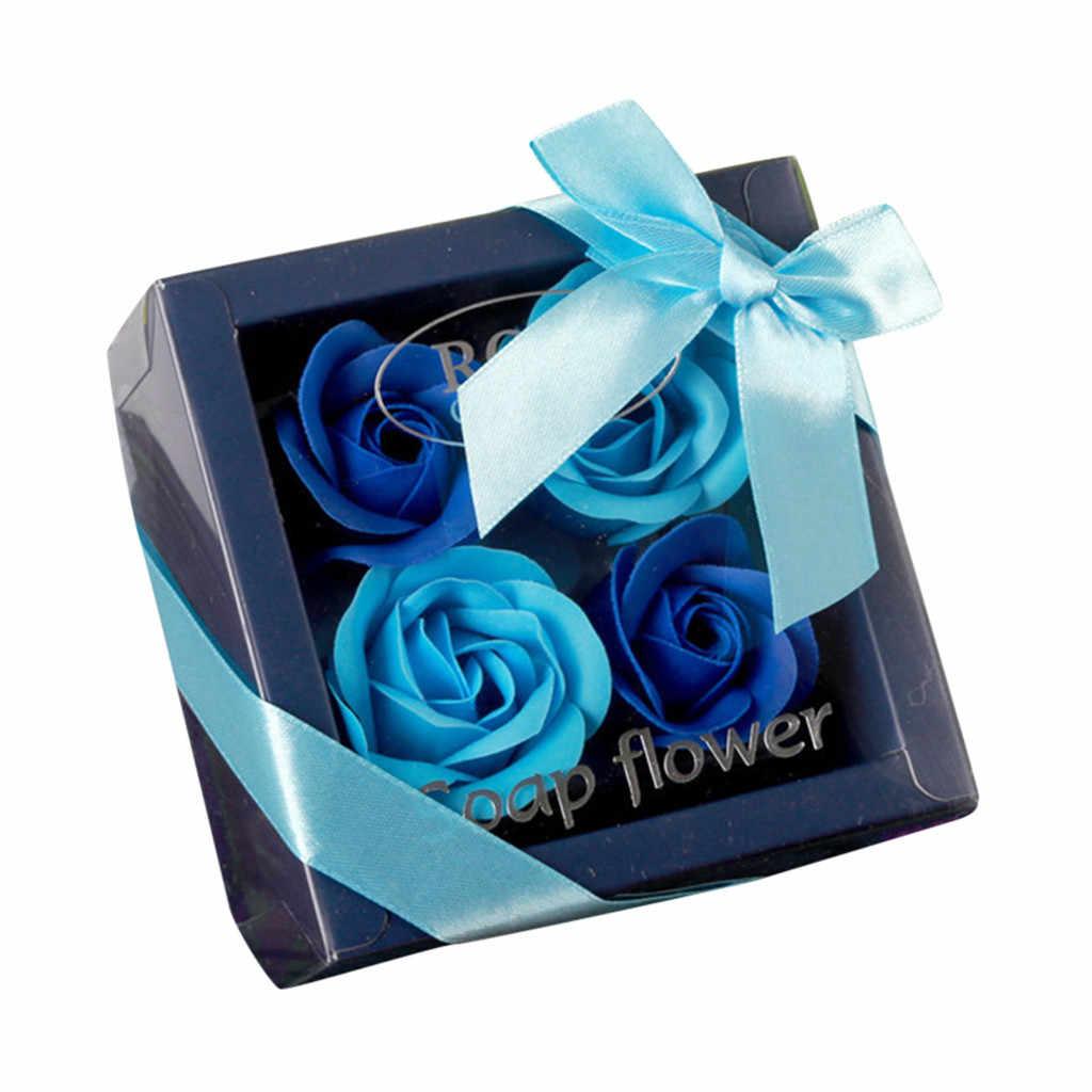 4 قطعة صندوق هدايا زهور الورد عيد الحب هدية فاخرة صابون يدوي الصنع زهرة باقة الورود القرنفل هدية صندوق زفاف المنزل